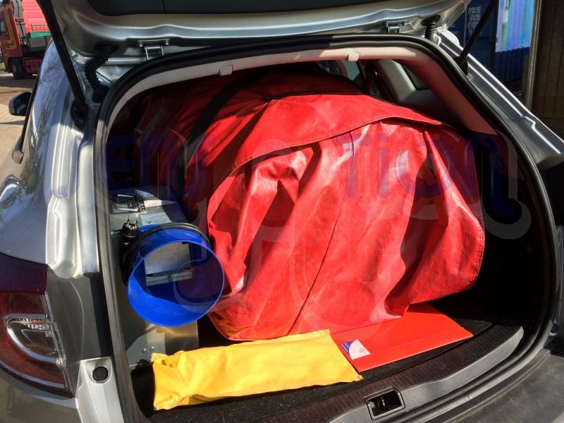 Springkussen middel multifun in een stationwagen